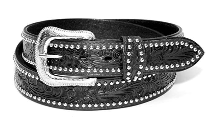 Ceinture Western Bikers homme cuir Noir Taille 38 - country Tooled, Studded  - XM- 0c36b4bf648