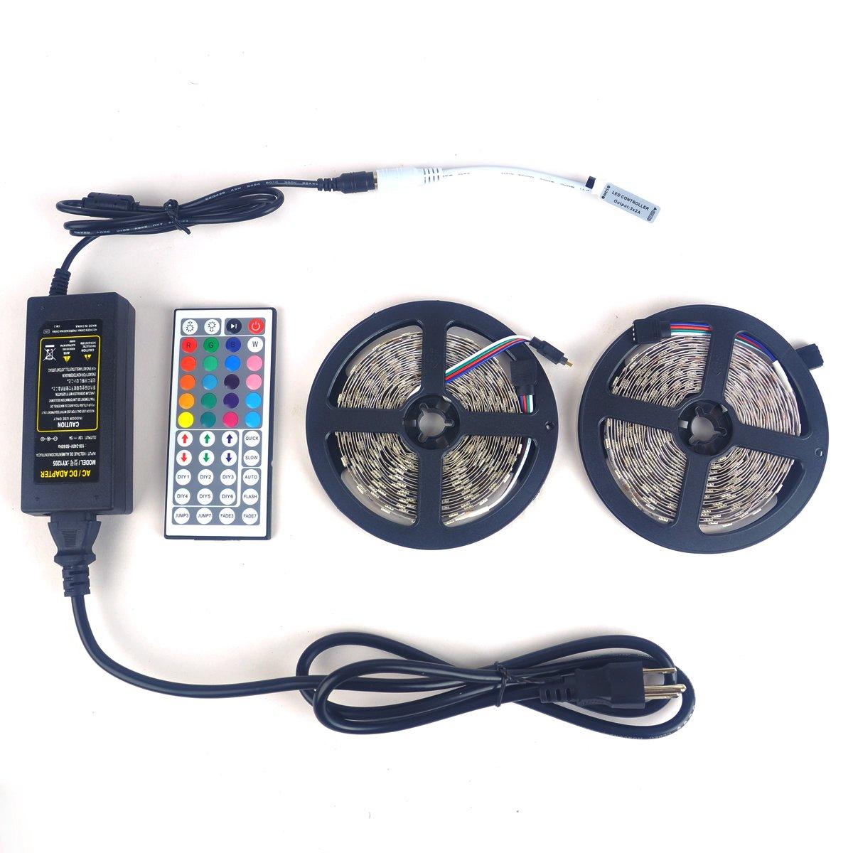 LTROP 2 Rolls 32.8ft LED Strip Lights Kit, None-waterproof Flexible SMD 5050 RGB 600 LED Light Strips with Mini 44 Key Remote and 12V 5V Power Adapter LED Strip Lights Kit-LT0028