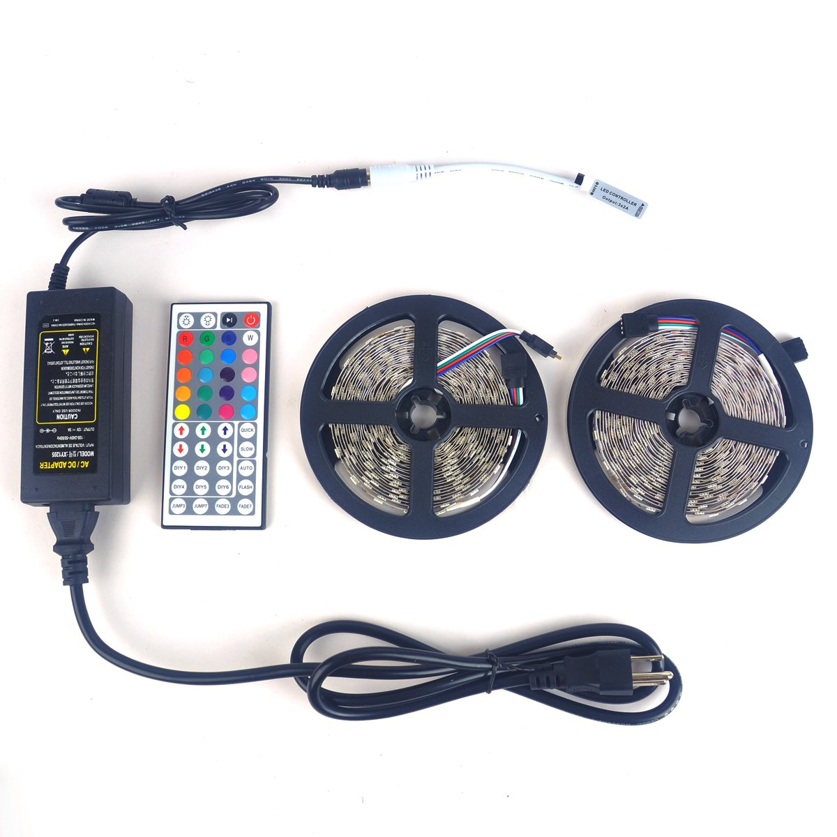 LTROP 2 Rolls 32.8ft LED Strip Lights Kit, None-waterproof Flexible SMD 5050 RGB 600 LED Light Strips with Mini 44 Key Remote and 12V 5V Power Adapter by LTROP
