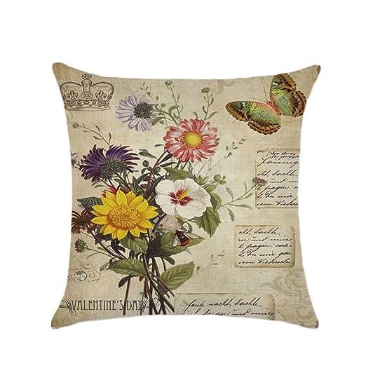 Kentop sofá almohada almohada decoración Cojín Caso No Cojín interior European estilo rústico, Algodón y lino, Stil-3, 45*45cm