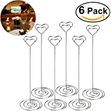 ULTNICE 6pcs Heart Swirl Table Number Photo Holder Stands for Weddings Party Gathering