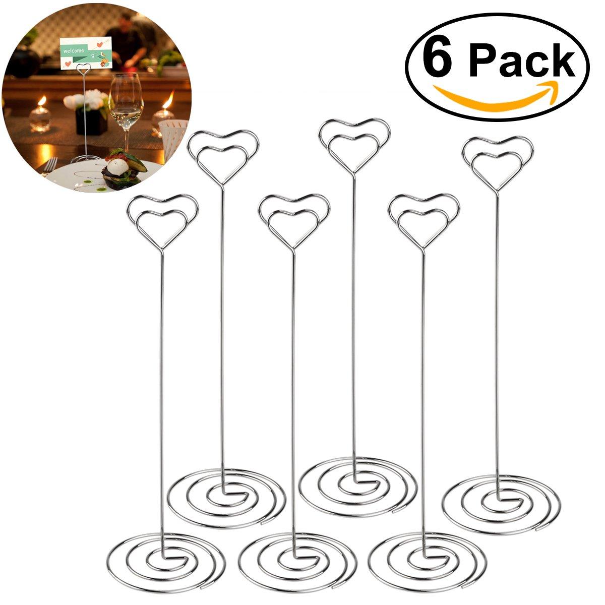 ULTNICE 6pcs Memo Clip CLip posto titolare della carta argento di favore di partito di nozze