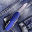 Pocket Multitool Folding Knife - Portable Multipurpose Blades Including Scissors, Saw, Corkscrew, Fish Scraper, Can Opener and More for Everyday Use - EDC Multifunction Knife - Grand Way 8060 BU-P