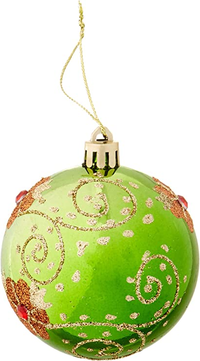 Perfect Holiday Handpainted 3 Piece Shatterproof Christmas Ornaments 2 75 Inch Apple Green Ball With Flowers And Acrylic Diamond Home Kitchen