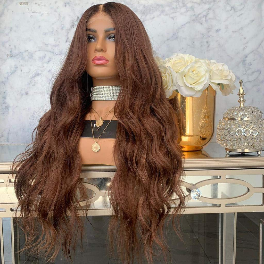 Tigivemen Fashion Long Lace Front Brown Synthetic WigCurly Wave Natural Wavy Party Wigs
