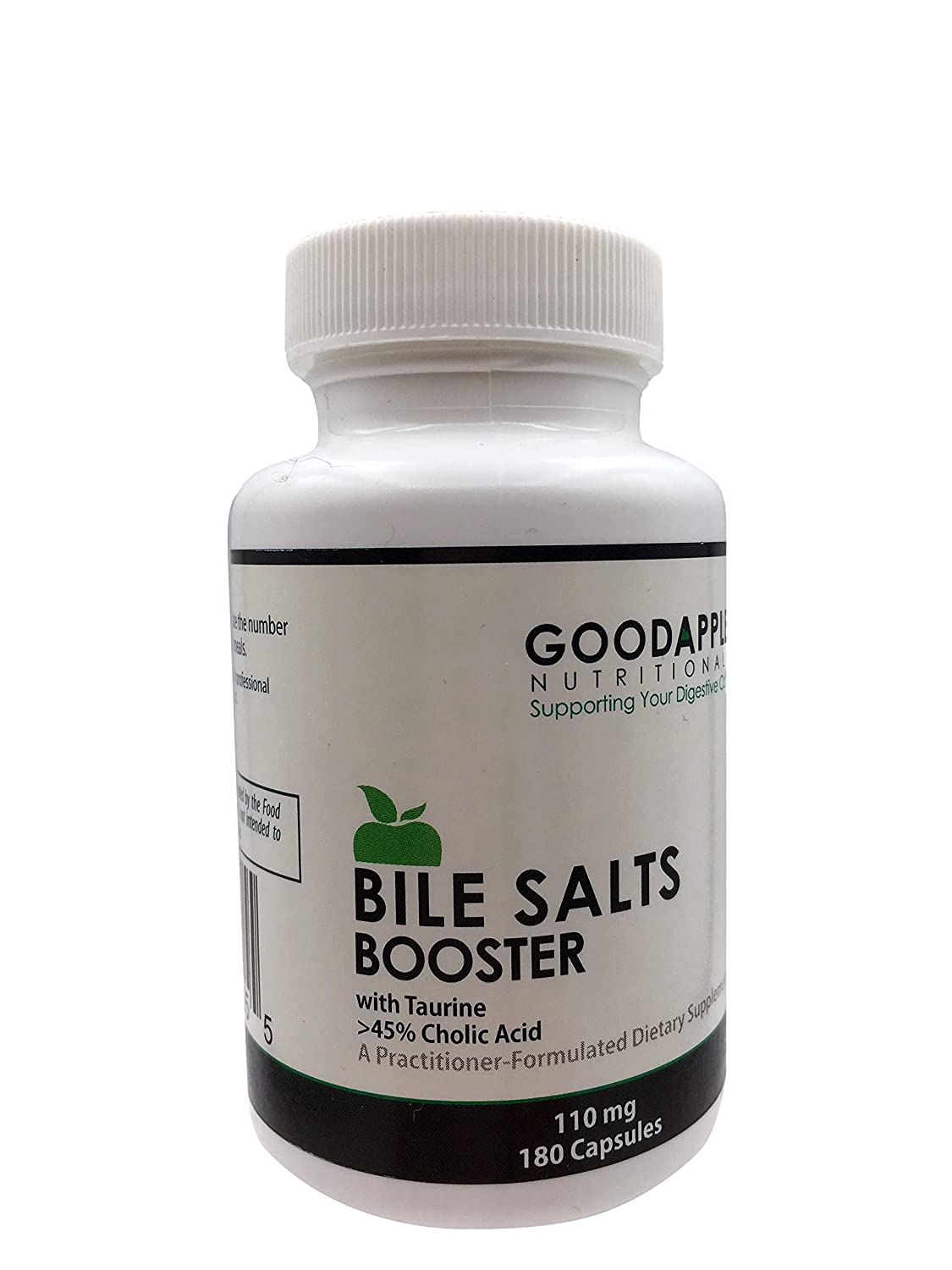 Bile Salts Booster for Gallbladder and No Gallbladder by GoodApple Nutritionals Ox Bile Salts with Taurine 180 capsules 110mg