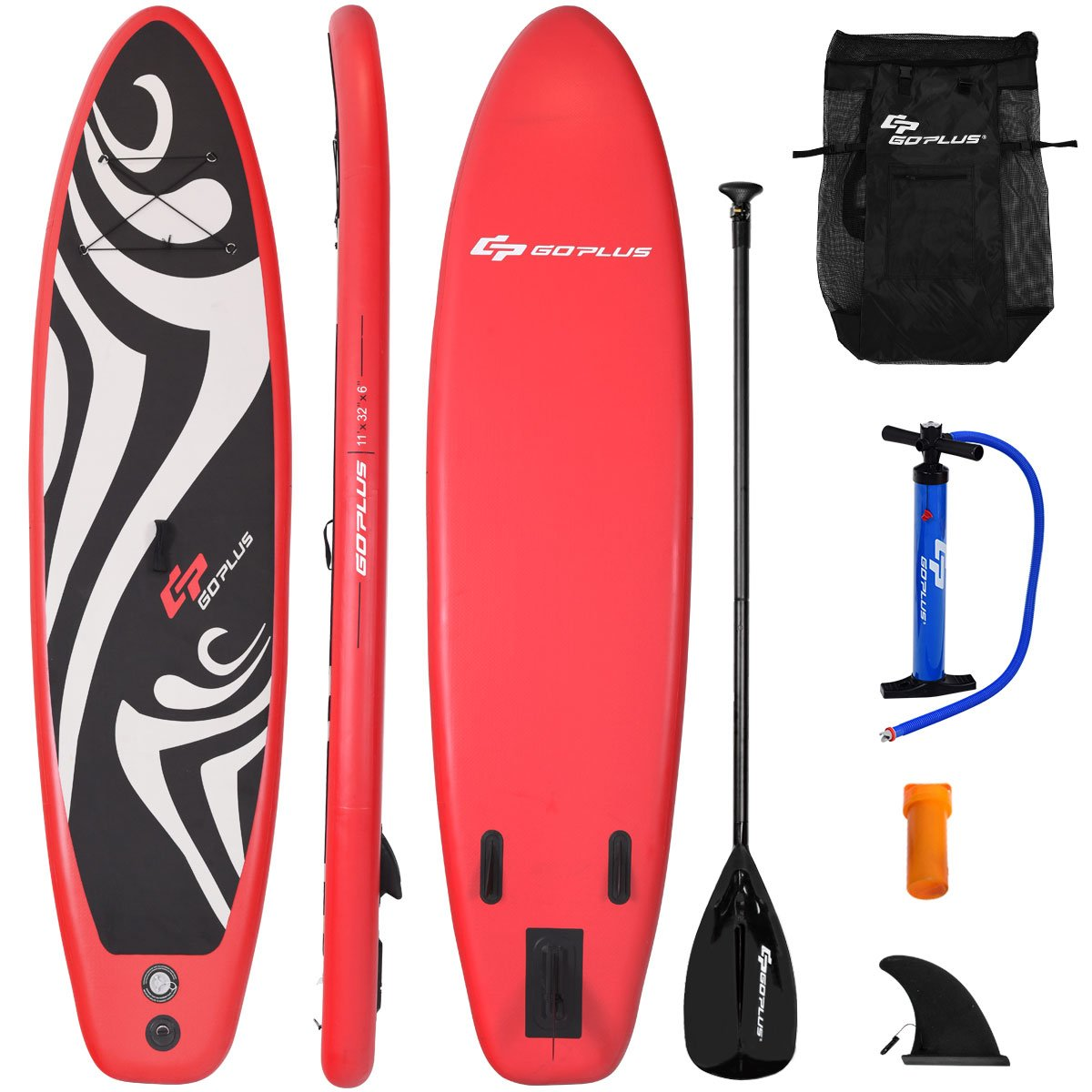 Goplus Inflatable Stand up Paddle Board Surfboard SUP Board with Adjustable Paddle Carry Bag Manual Pump Repair Kit Removable Fin for All Skill Levels, 6'' Thick (Red, 11 FT)