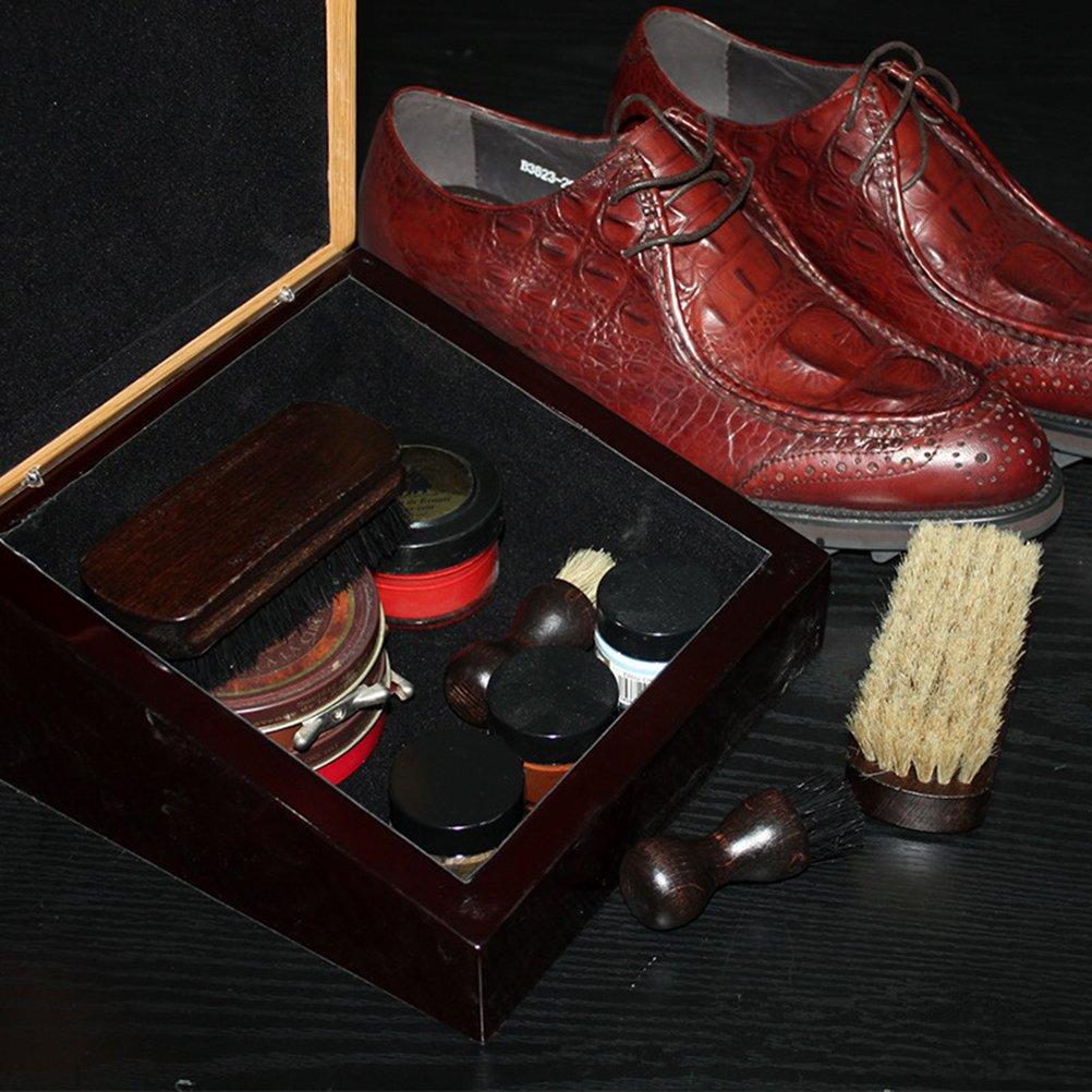 Random color Hpybest Boot Brush Cleaner Shine Shoe Pig Bristles Brush with Wood handle