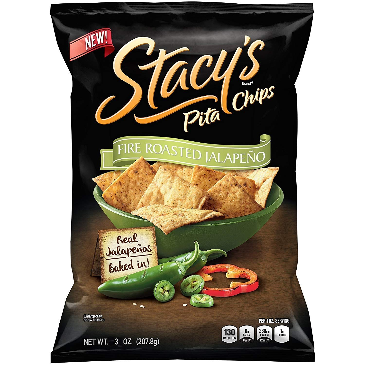 Stacy's Pita Chips Fire Roasted Jalapeno 3 oz (Pack 8) by Stacy's
