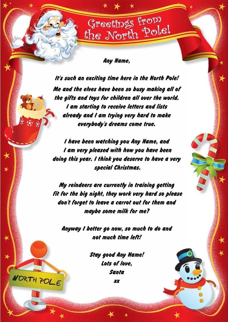 Rojo Polo Norte personalizado carta de Navidad de Papá Noel ...