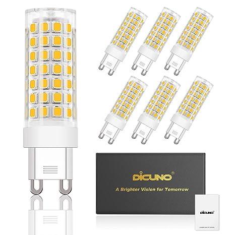 DiCUNO Bombillas LED G9 De 4.5W Equivalentes A Bomlillas Halógenas De 50W, Blanca cálida