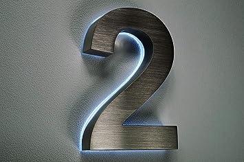 HAUSNUMMER EDELSTAHL Nr.2 / H18cm / V2A / beleuchtet / LED weiss ...