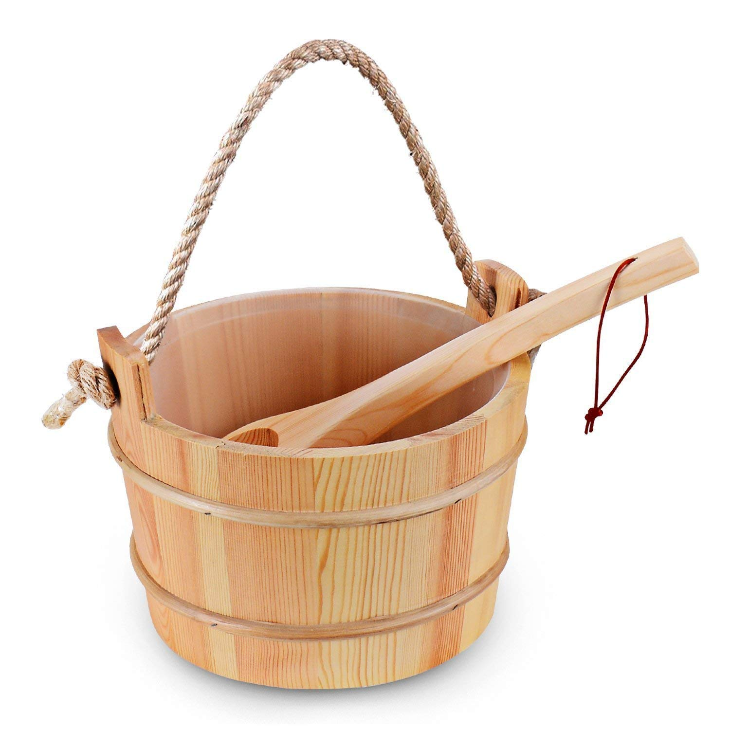 Bestnewie Sauna Bucket with Ladle Handmade Wooden Sauna Bucket Sauna Spa Accessory - 5 Liter (1.3 Gallon) Sauna Bucket by Bestnewie