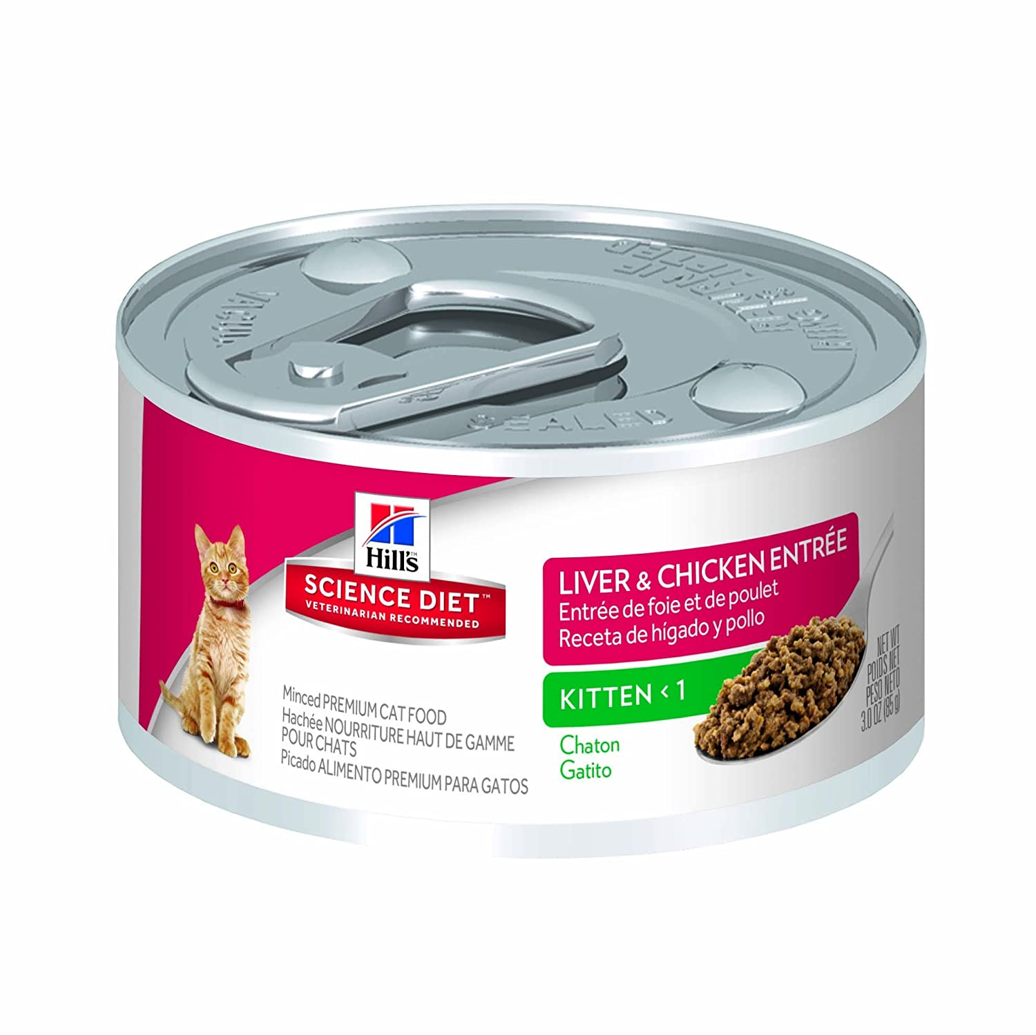 Amazon.com : HillS Science Diet Kitten Liver And Chicken Entree Minced Cat Food, 3 Oz, 24-Pack : Canned Wet Pet Food : Pet Supplies
