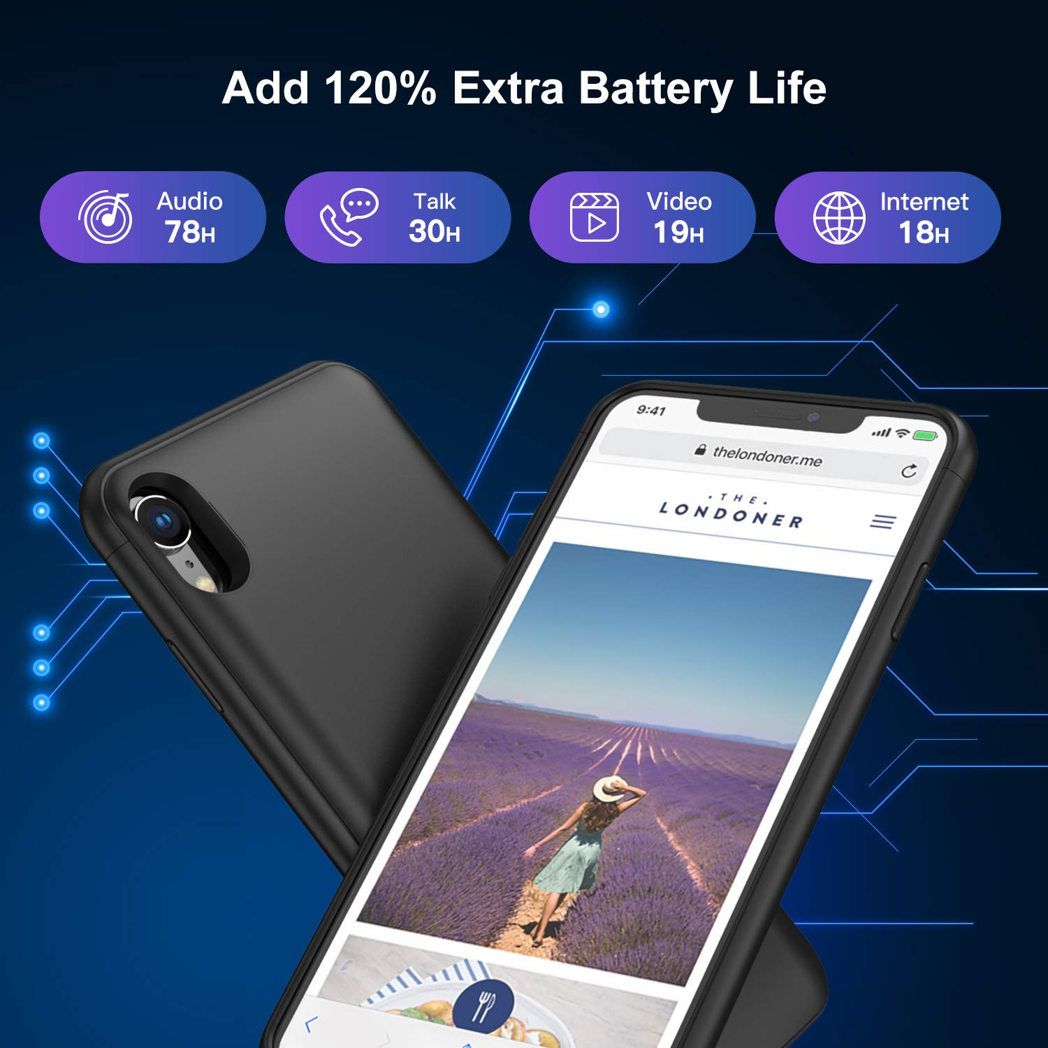 Battery Case for iPhone XR, 5000mAh Charging Case Protective Charger Case for iPhone XR (Black) by Lonlif (Image #2)