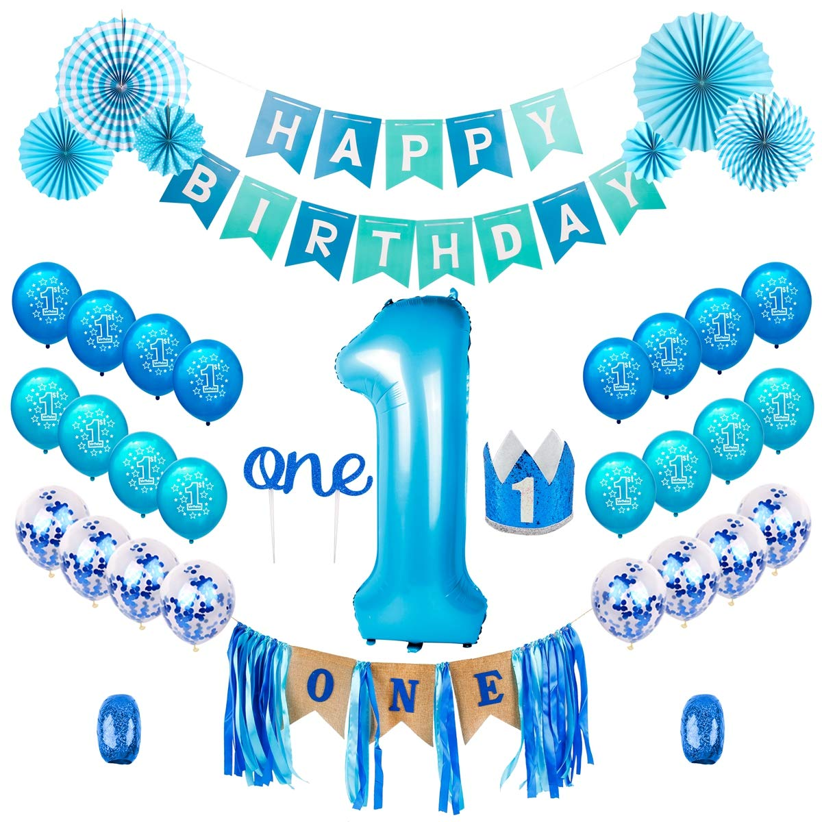 Happy 1st Birthday Boy.Qifu 1st Birthday Boy Decorations Kit Baby Boy First Birthday Decorations One Year Balloon Blue Happy Birthday Banner High Chair Banner Blue Hat