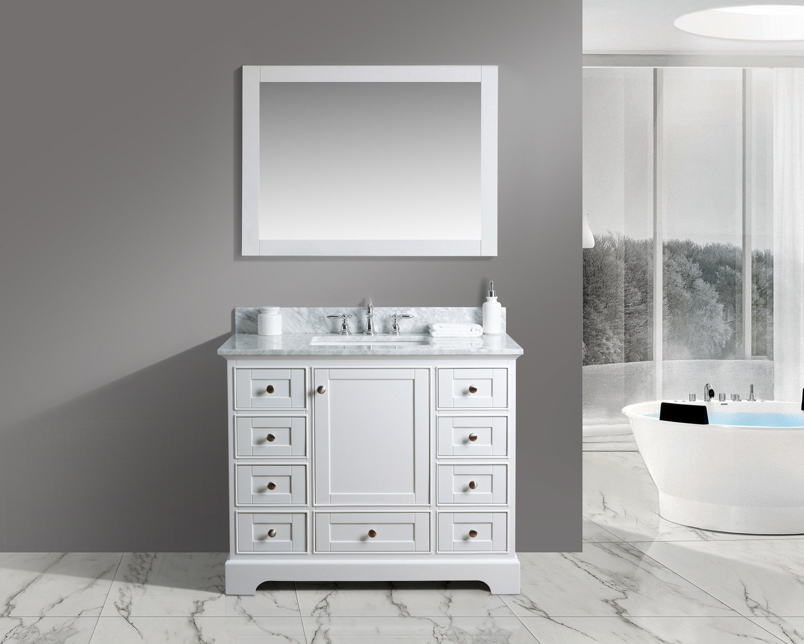 UrbanFurnishing.net - Jocelyn 42-Inch (42'') Bathroom Sink Vanity Set with White Italian Carrara Marble Top - White by UrbanFurnishing.net