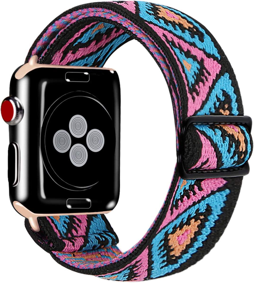 Kraftychix Adjustable Elastic Watch Band Compatible for Apple Watch 42MM/44MM,Women Stretch Boho Sport Watch Strap Bracelet Replacement Wristband for Iwatch Series 1/2/3/4/5(Pink Flag,42/44MM)