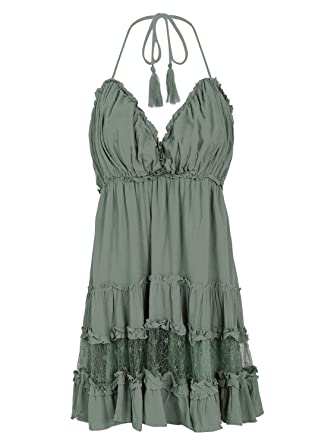 9f647645ed33 Simplee Women Sexy Backless Halter V Neck Beach Dress Casual Ruffle Flare  Dress 4/6