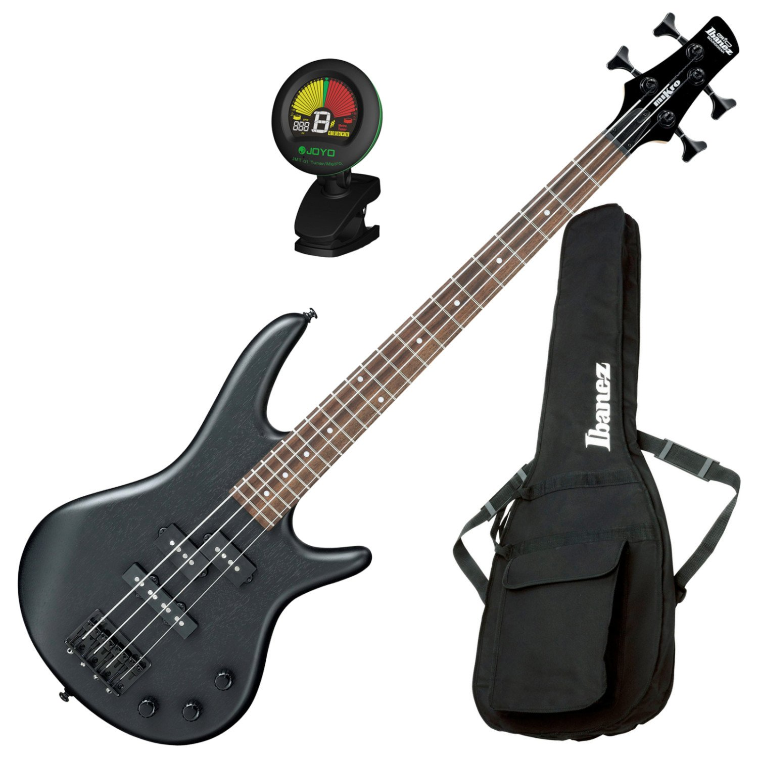 Ibanez GSRM20BWK GIO 4-String Mikro Electric Bass Weathered Black with Gig Bag and Tuner GSRM20BWK BUNDLE
