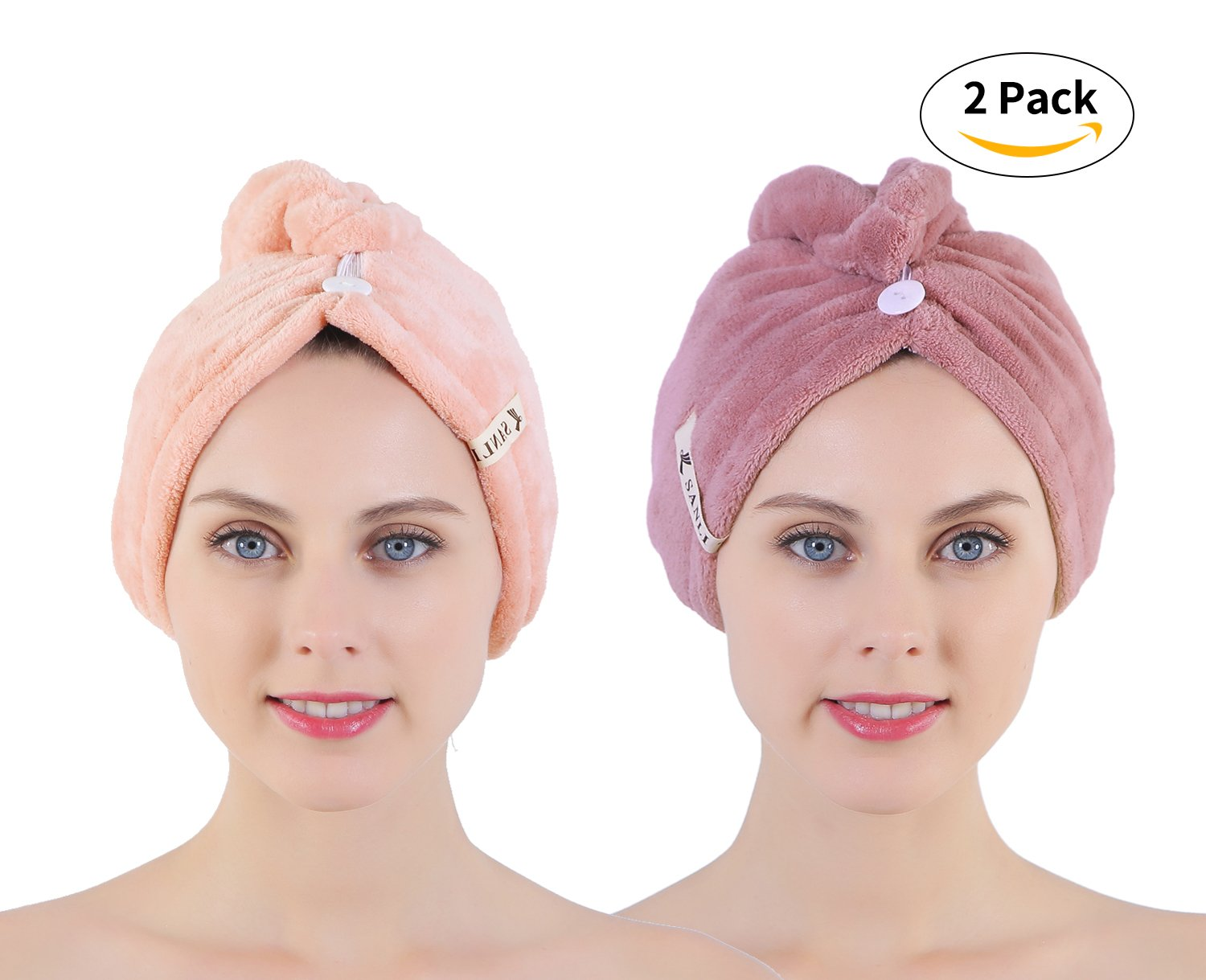 2 Pack Microfiber Hair Twist Towel Double Layer Designed Super Absorbent & Fast Drying Turban Wrap for Women Girls by Sanli (light orange+purple)