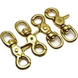 Okones Pack of 4,5/9''(14mm)Eye Diameter,2-3/5'' Overall Length,Solid Brass Lobster Clasps Oval Swivel Trigger Clips Hooks for Straps Bags Belting leathercraft (2-3/5'')