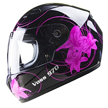 Amazon.com: Voss 970Y Youth / Kids Full Face Helmet. Pink Lily Graphic. DOT - M - Gloss Black Lily: Automotive