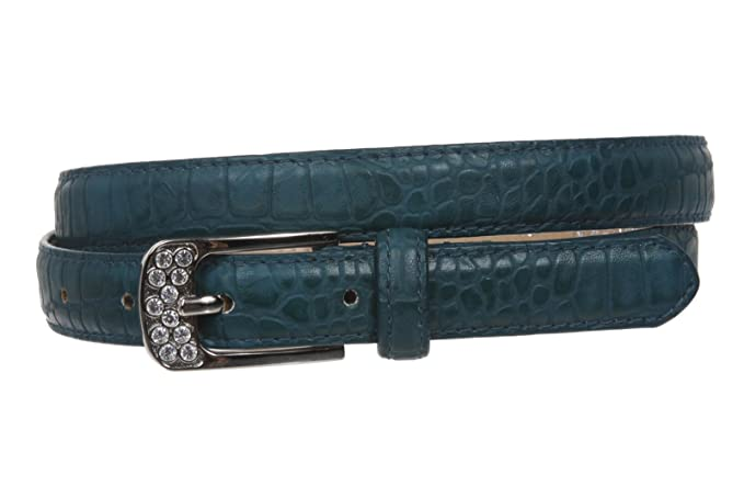Womens 3//4 Skinny Rhinestone Faux Alligator Crocodile Print Non Leather Belt