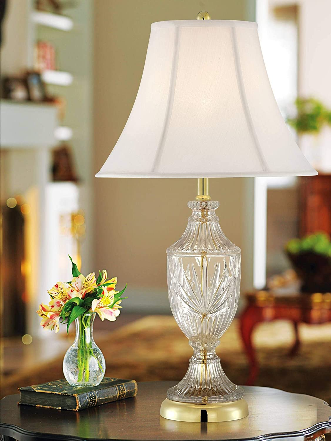 Traditional Table Lamp Cut Glass Urn Brass White Cream Bell Shade for Living Room Family Bedroom Bedside Nightstand
