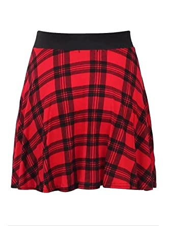 0d06e9323fe Rewatronics New Womens Red Ladies Check Tartan Skater Mini Skirt  Elasticated Waist Size 8-22