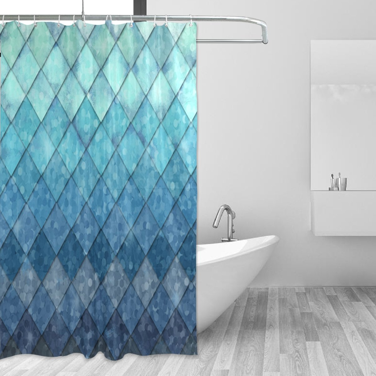 Amazon.com: ALAZA Shower Curtain Backdrop Royal Blue Mermaid Scales ...