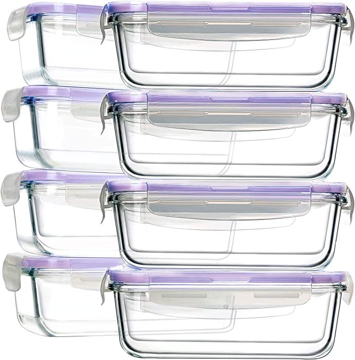 8 Pack 30oz Glass Food Storage Containers, Bayco Glass Meal Prep Containers, Airtight Glass Storage Containers with Lids - BPA-Free & FDA Approved & Leak Proof (8 lids & 8 Containers), Purple