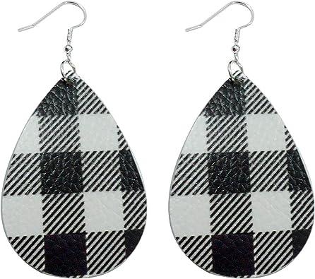 Drop Earrings Buffalo Plaid Petal Earrings Faux Leather Earrings Tear Drop Earring