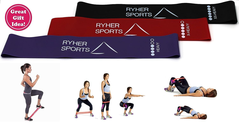 Ryher Bandas Elasticas de Fitness - 3X Bandas de Resistencia - Gomas Elasticas Extra Fuertes + Bolsa - Set de 3 Cintas Elásticas Musculacion, Fitness, ...