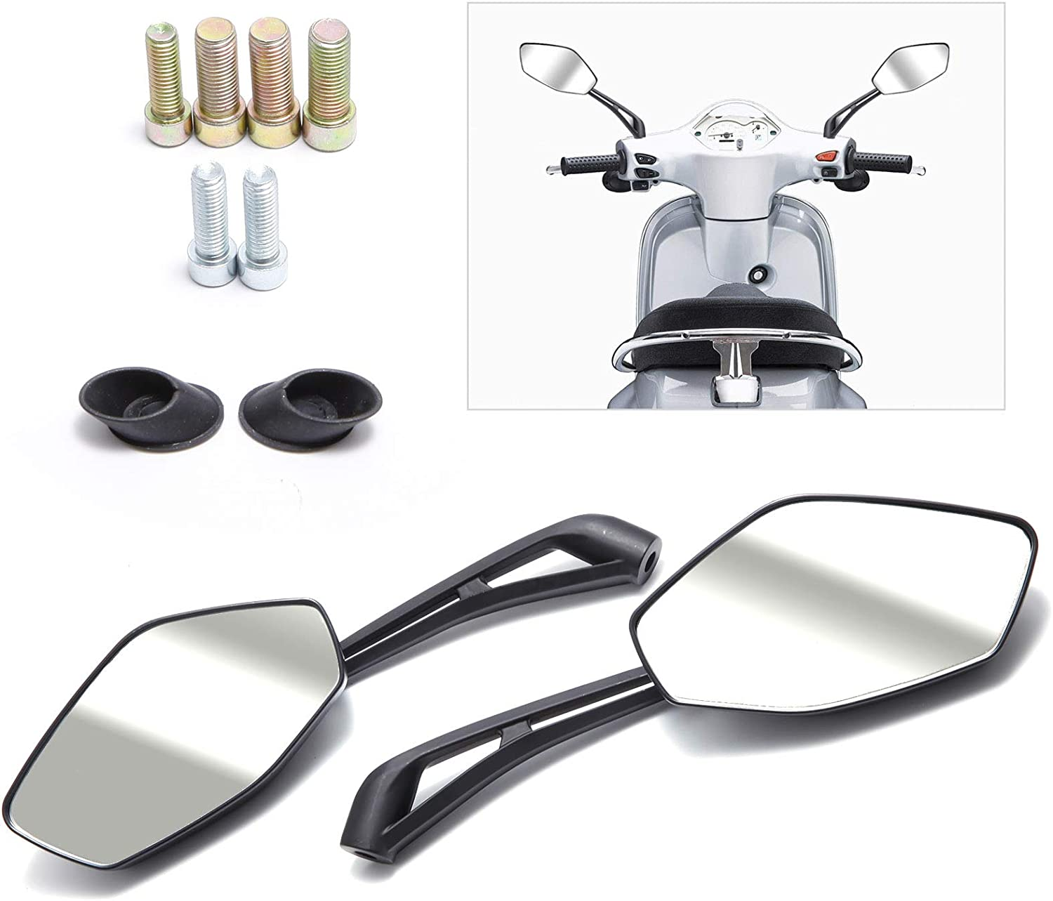 SurePromise Universal Motorcycle Mirrors Rear Vew Side with M8 M10 Clockwise and Counter Clockwise Threaded Bolts for ATV Scooter Cruiser E-Mark Certification