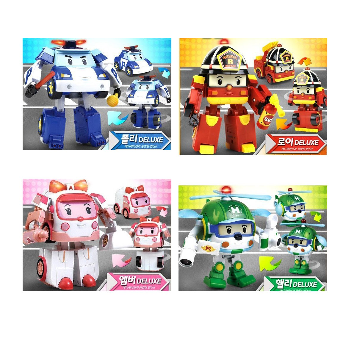 Deluxe Transformable Robocar Poli Toy SET [Poli+Amber+Roy+Helly], Special Limited Edition