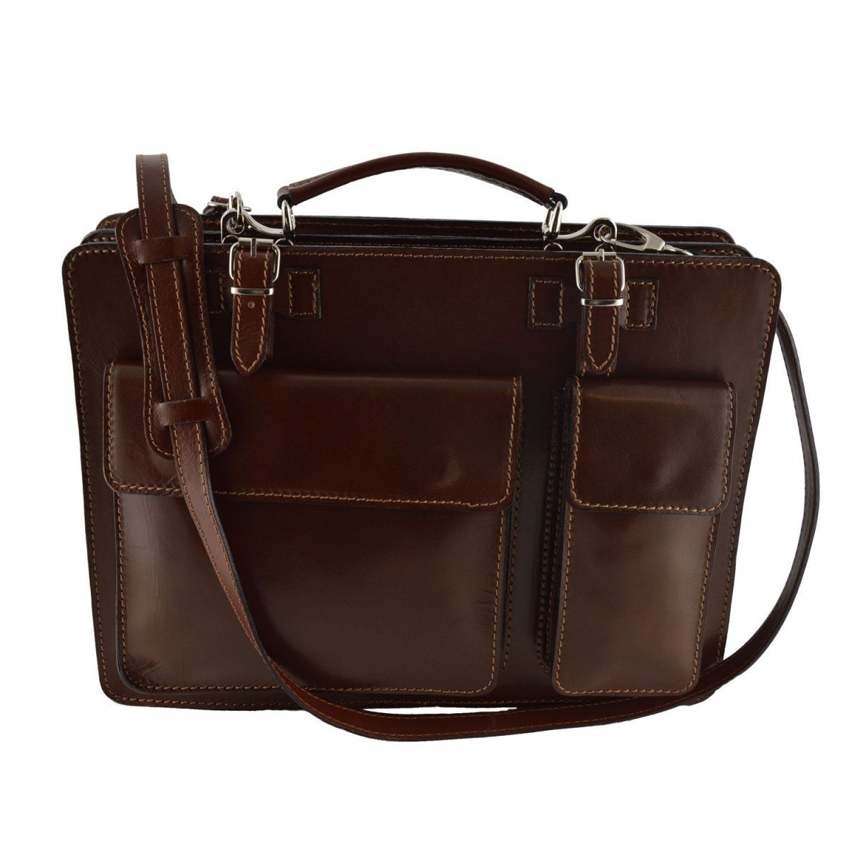 Made In Italy Leather Briefcase Color Brown - Business Bag B014T6IGCY