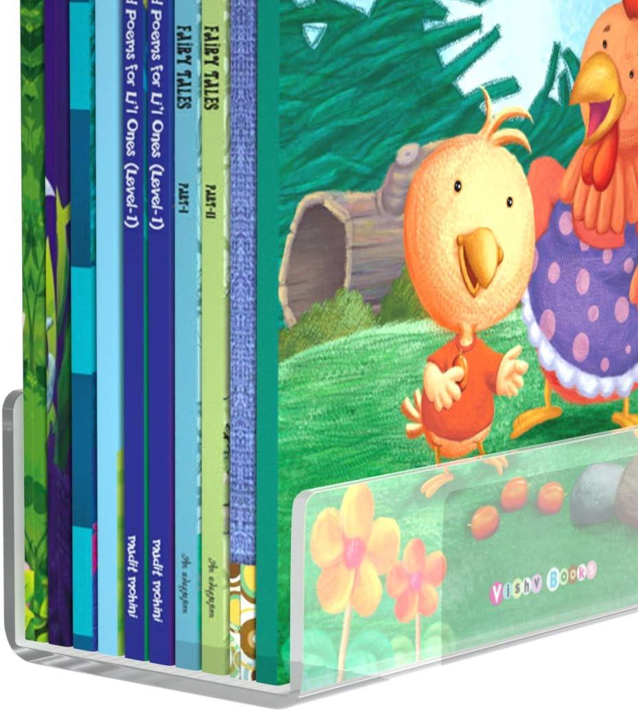 Femeli Acrylic Bookshelf 36 Inch for Kids, 2 Pack Of Clear Floating Wall Shelves for Nursery Room Bathroom Dorm