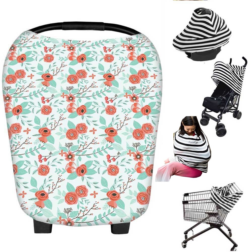 Nursing Breastfeeding Cover Scarf - Baby Car Seat Canopy, Shopping Cart, Stroller, Carseat Covers Best Baby Shower Gift for Girls and Boys - Multi-Use Infinity Stretchy Shawl (Green) Bopstyle BOP-zydb-4