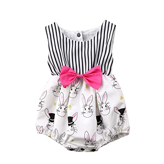 One-pieces Baby Girls Handmade Playsuit Easter
