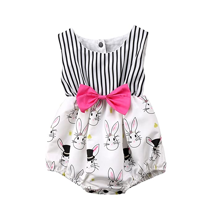 6cb66707b78 Cute Baby Girl Cartoon Bunny Sleeveless Striped Romper Bodysuit Outfit With  Bowknot (0-6