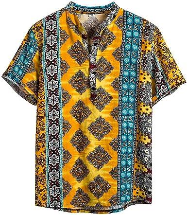 Camisa de Manga Corta Redondo para Hombre de Estilo Nacional 2019 Camisa Estampada a Rayas Camisa de Manga Corta con Cuello de Algodón Hawaiano Henry: Amazon.es: Ropa y accesorios