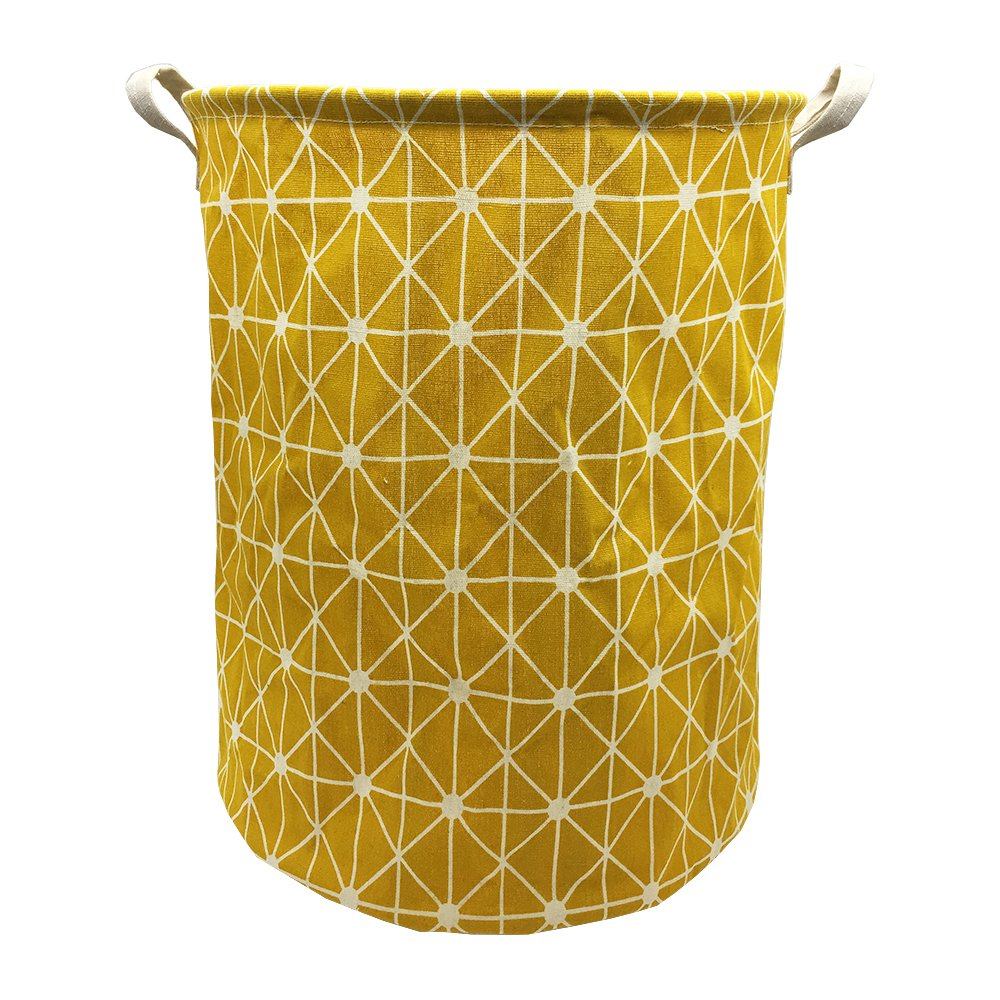 Mziart Collapsible Laundry Basket Hamper Cotton Fabric Nursery Toy Storage Basket for Bedroom Nursery Dorm Closet (Yellow Lattice) by Mziart (Image #1)
