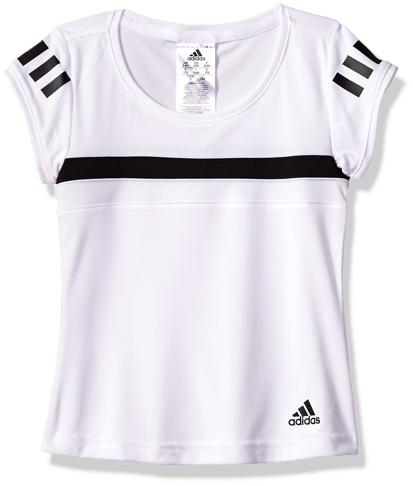 adidas Girl's Youth Tennis Girls Club Tee, White, X-Large