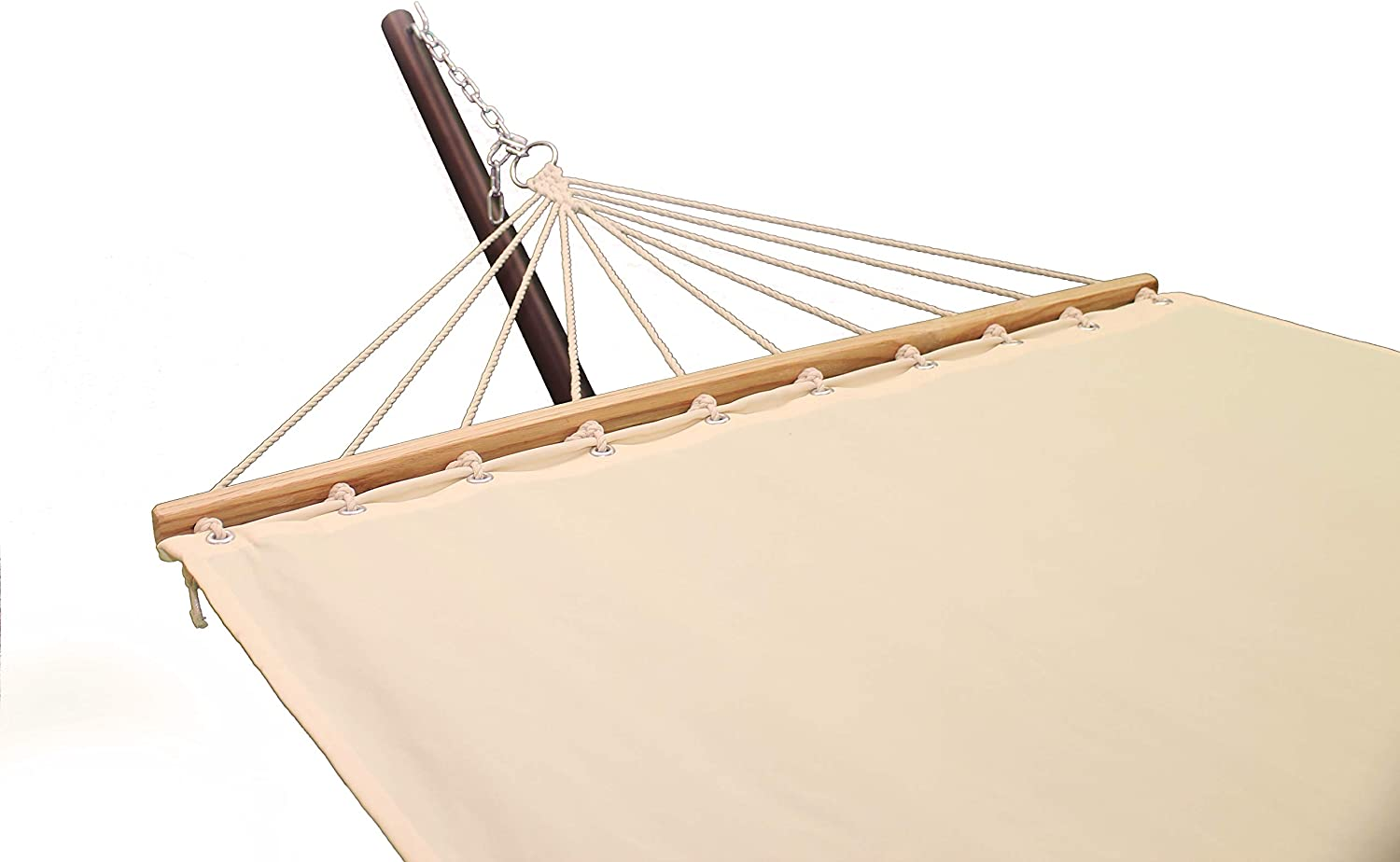 Project One Hammock, Quick Dry Hammock with Solid Wood Spreader Bar Outdoor Patio Yard Poolside Hammock. Waterproof and UV Resistance, 450 Pound Capacity (Ivory)