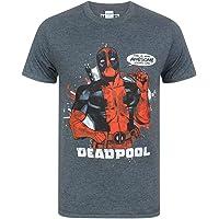 Deadpool Marvel T-Shirt Men Short Sleeve Character Costume Top Large Charcoal