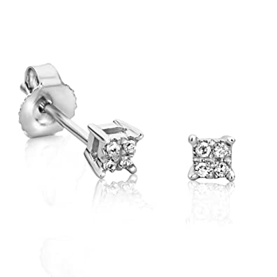 Orovi Woman Studs Solitaire Engagement Earrings 9 ct / 375 White Gold With Diamonds Brilliant Cut 0.05 ct FH74I