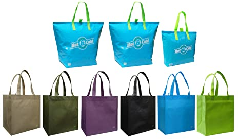 9aa9582d5 Amazon.com  3 Insulated Aqua Color Tote Bags + Reusable Grocery Tote ...