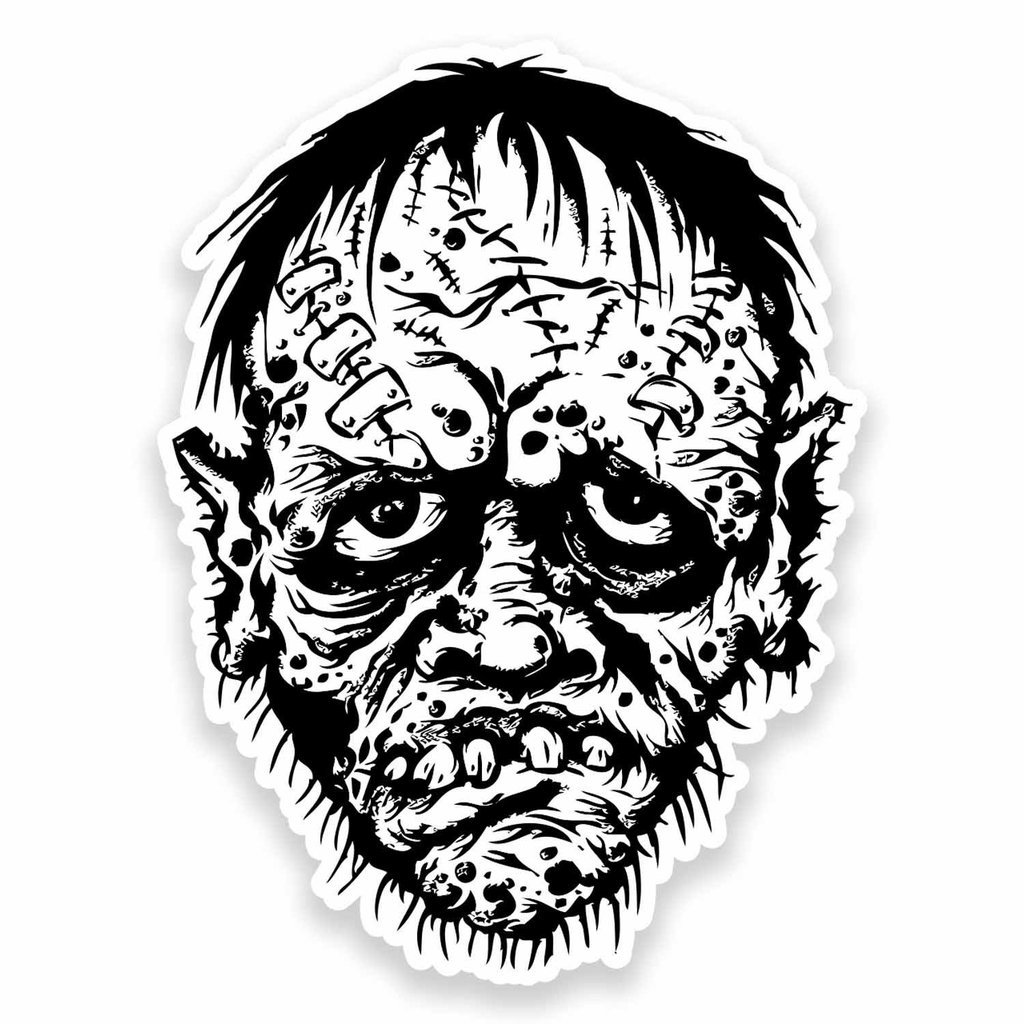 2 x 30cm- 300mm Zombie Head Vinyl SELF ADHESIVE STICKER Decal Laptop Car Travel Luggage Label Tag #9611