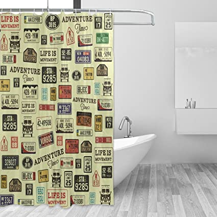 Image Unavailable Not Available For Color WellLee Grunge Car Number License Plates Shower Curtain